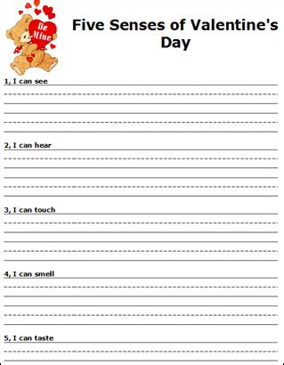 valentines writing activities five senses of s day writing paper pinned by