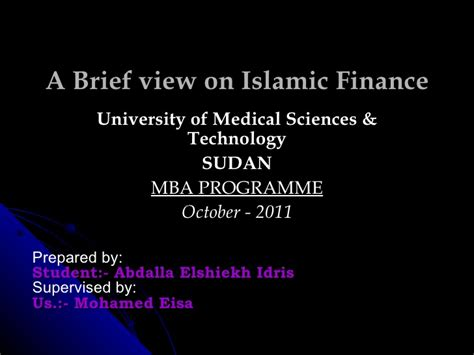 Mba Islamic Finance by A Brief View On Islamic Finance