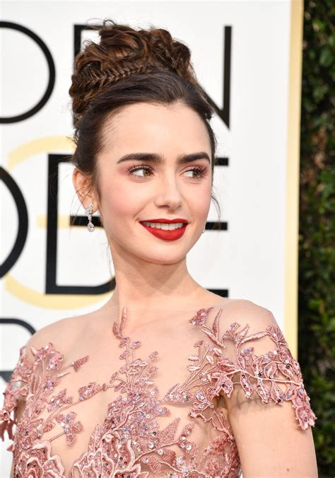 golden globes hair makeup was all about the drama lily collins hair and makeup at the 2017 golden globes