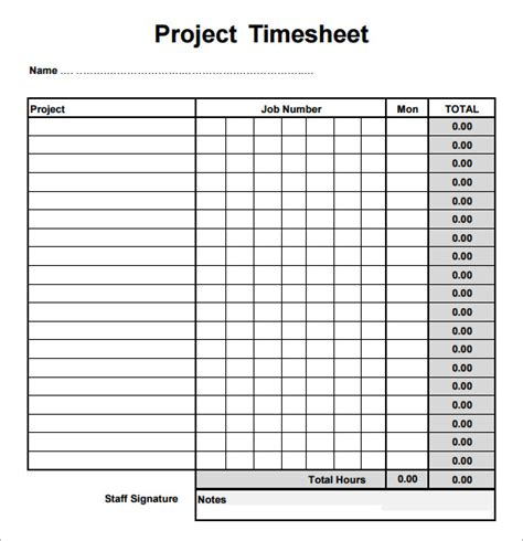 7 Sle Project Timesheets Sle Templates Excel Timesheet Template Projects