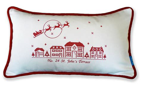 christmas cusions personalised christmas street cushion by kate sproston