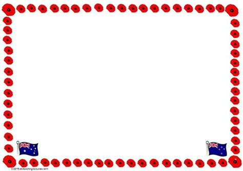 poppy writing paper anzac day poppy border template blank page suitable