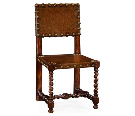 tudor style medium antique chestnut leather seat side