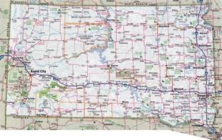 large detailed roads and highways map of south dakota with