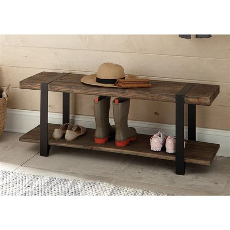rustic tables and benches alaterre furniture modesto rustic natural storage bench amsa0320 the home depot