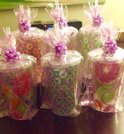 Co ed baby shower prizes. Cups, bags, bows and plastic