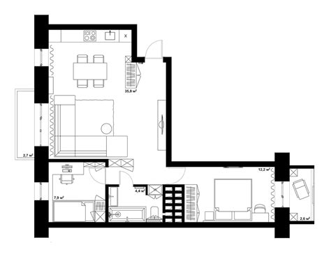 l shaped apartment floor plans double bedroom l shaped home design 2 exles with floor