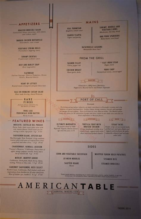 Table Menu by 031 Carnival Imagination 4 Day Cruise American Table