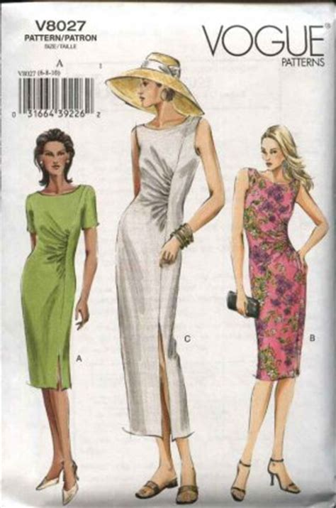 dress pattern ruching vogue sewing pattern 8027 misses size 6 8 10 easy ruched dress