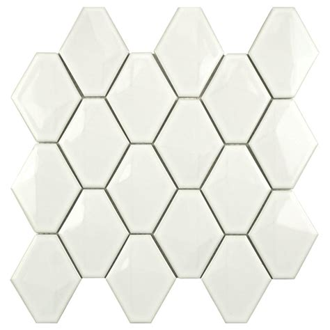merola tile prism glossy white 10 1 2 in x 11 in x 6 mm porcelain mosaic tile fdxprgwh the