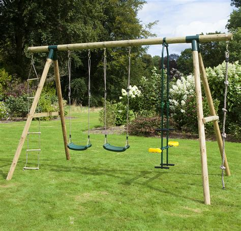 double swing sets rebo saturn 4 in 1 wooden garden swing set double swing