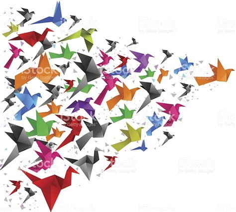Origami Fly - origami birds flying together stock vector 484035687