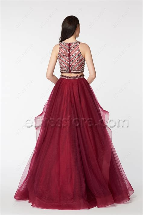 Who Wore It Better Karta Jeweled Waist Dress by Beaded Sparkle Two Burgundy Gown Prom Dress