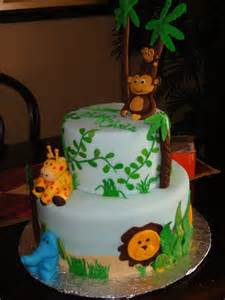 The sweetest tiers jungle theme baby shower cake
