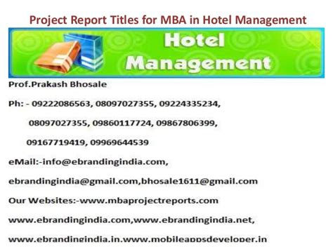 Use Mba In Title by Project Report Titles For Mba In Hotel Management