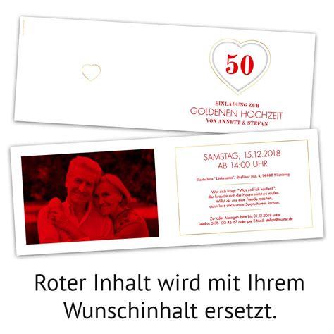 Einladungskarten Herz by Goldene Hochzeit Einladungskarten Jubil 228 Ums Herz