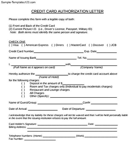 authorization letter for proof of billing for credit card authorization letter format for credit card vacation