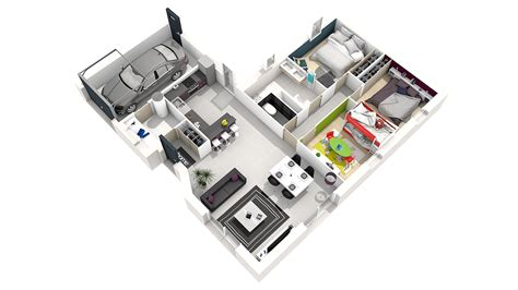 Plan Maison Simple 3 Chambres 3d by Plan Maison Simple 3 Chambres Evtod