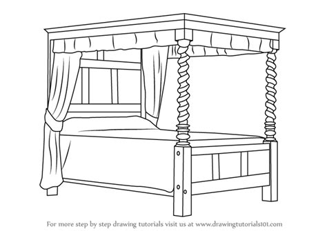 how to draw bedroom step by step learn how to draw a four poster bed furniture step by
