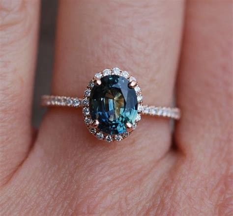 Blue Safir Sapphire 6 55ct green blue sapphire engagement ring peacock by