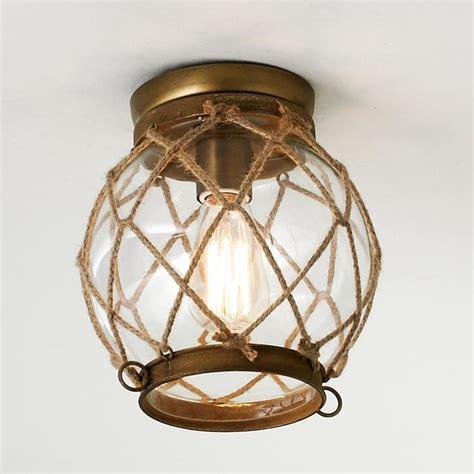 jute rope lattice glass globe ceiling light flush