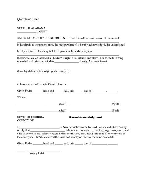 free printable quit claim deed alabama best photos of sle quit claim form quit claim deed