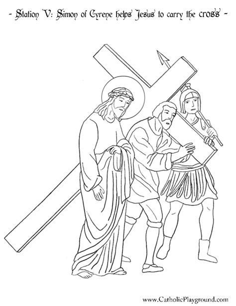 coloring pages of jesus carrying the cross station v simon of cyrene helps jesus to carry the cross