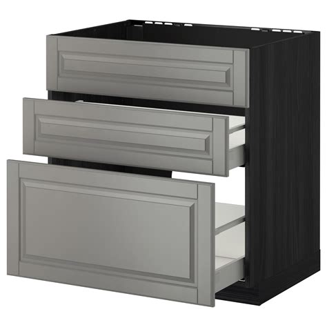 ikea kitchen bodbyn base cabinet with 3 drawers 1 metod maximera base cab f sink 3 fronts 2 drawers black