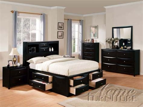 complete bedroom sets with mattress acme furniture manhattan black finish wood storage full