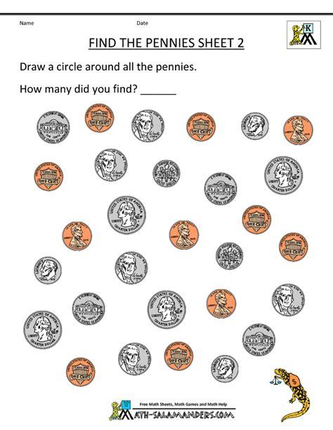 Kindergarten Activities Coins | kindergarten money worksheets 1st grade