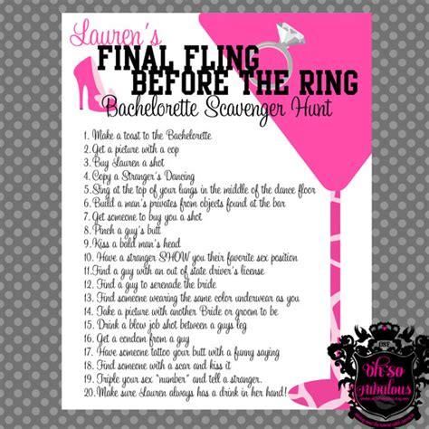 bachelorette scavenger hunt template and bachelorette scavenger hunt