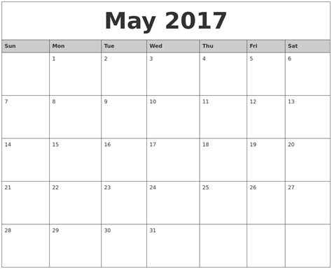 printable calendar months 2017 may 2017 monthly calendar printable pictures