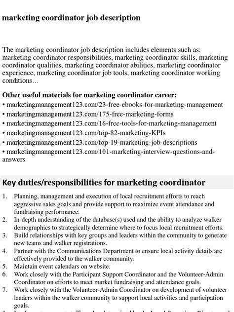marketing coordinator description marketing coordinator description docshare tips
