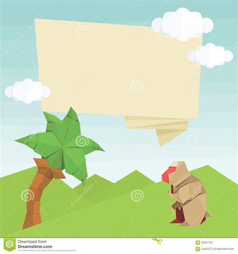 Origami Palm Tree - origami monkey palm tree balloon and clouds vector