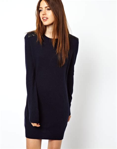 Sweater Dresses by Asos Sweater Dress With Leather Look Shoulders In Blue