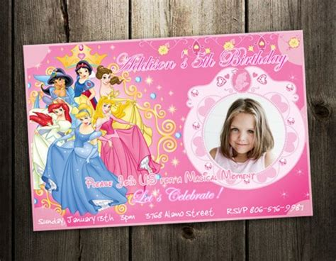 disney princess birthday invitations custom disney princess invitation birthday photo invites