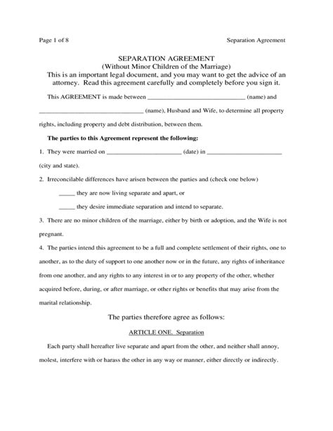 Diy Separation Agreement Diy Do It Your Self Maryland Separation Agreement Template