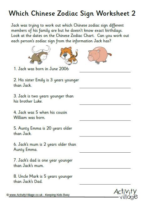new year activities for grade 1 which zodiac sign worksheet 2