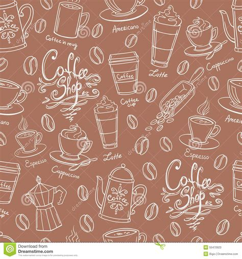 Coffee Shop Design Seamless Background. Stylized Coffee Pattern. Stock Vector   Image: 55470923
