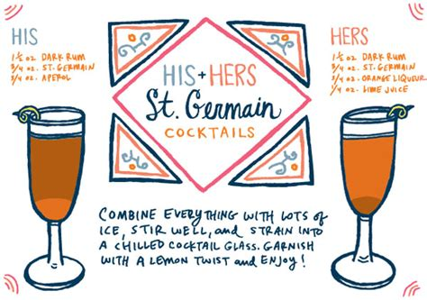 cocktail recipe cards friday happy hour his and hers st germain cocktails