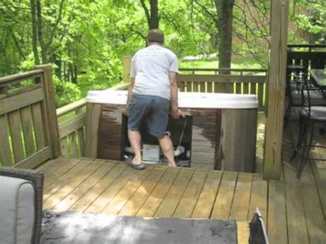 moving hot tub series  man moves    steps