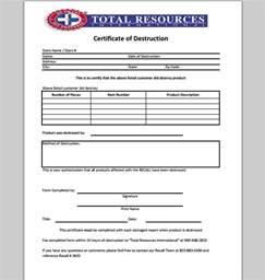 Certification Of Destruction Letter Certificate Of Destruction Template Sample Templates