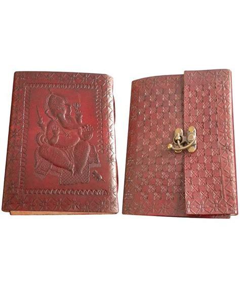 Handmade Diary Cover - handmade leather cover diary 1 lock ganesha embossed size