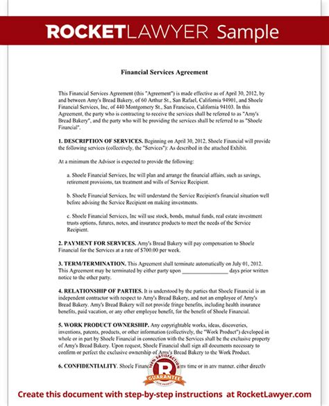 financial agreement template financial services agreement contract with sle