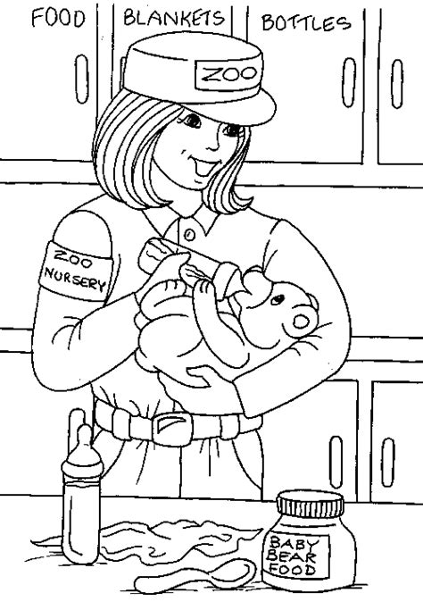 Coloring Page Of Zookeeper | zoo keeper coloring page work pinterest zoos