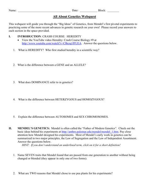 All About Genetics Webquest