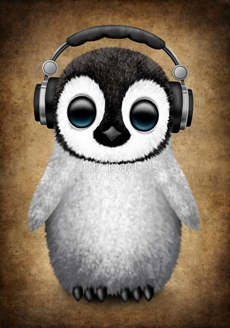 Panda Wall Stickers quot cute baby penguin dj wearing headphones quot posters by jeff