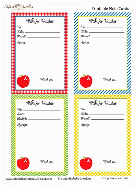 back to school free printable note for teacher cards