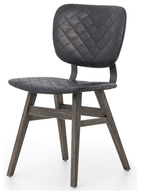 industrial dining room chairs drifter quot dustrial loft black leather quilt charcoal dining