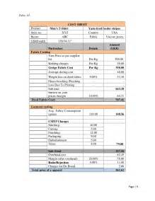 Cost Sheet Format For Garment Manufacturing Company by Dg Fashion Cost Analysis Abc